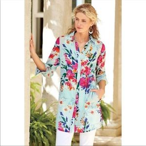 Soft Surroundings Day Lily Floral Tunic And Tank Top Plus Size 3X